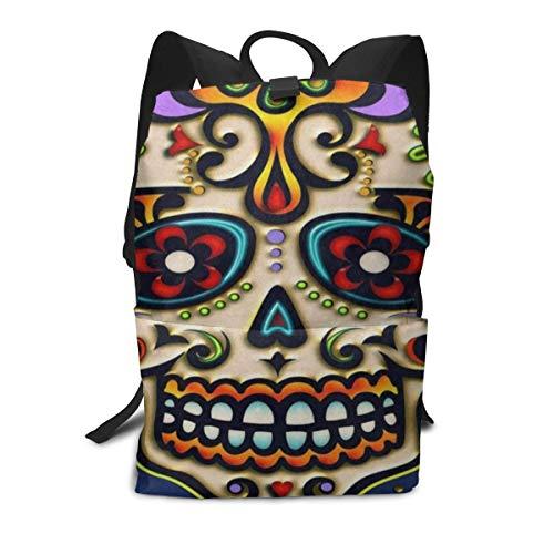 Funny Personalized Backpack Mexico Dia De Los Muertos Sugar Skull Zipper School Bookbag Daypack Travel Rucksack Gym Bag For Man Women (Best Weekend Getaways From Sf)