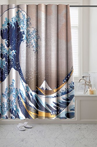 - The Great Wave Novelty Fabric Shower Curtain - Museum Collection by artist Katsushika Hokusai