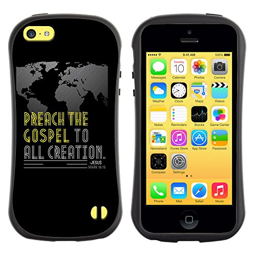 DREAMCASE Citation de Bible Silicone et Rigide Coque Protection Image Etui solide Housse T¨¦l¨¦phone Case Pour APPLE IPHONE 5C - MARK 16:15 PREACH THE GOSPEL TO ALL CREATION