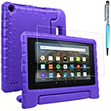 Fire 7 Case & Screen Protector & Stylus, AFUNTA Handle Stand EVA Protective Case, PET Plastic Cover and Touch Pen Compatible Amazon Kindle 7 inch Tablet (5th Generation 2015 Release)-Purple