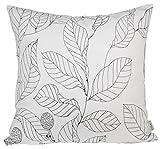 BLUETTEK Canvas Decorative Throw Pillow Case Leaves Design 18