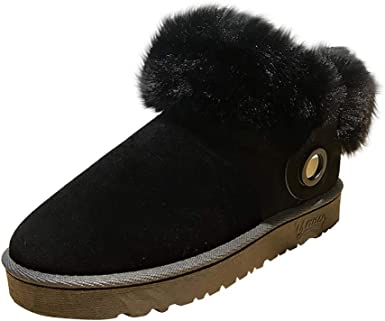 GoodLock Women Fashion Keep Warm Snow Boots Ladies Suede Round Toe Lace-Up Flat Shoes Middle Tube Boots