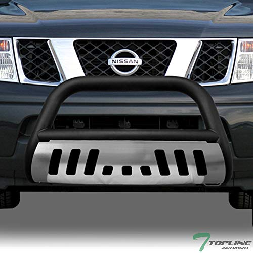 Topline Autopart Matte Black Bull Bar Brush Push Front Bumper Grill Grille Guard With Brush Aluminum Skid Plate For 05-18 Nissan Frontier ; 05-07 Pathfinder ; 05-15 Xterra ()