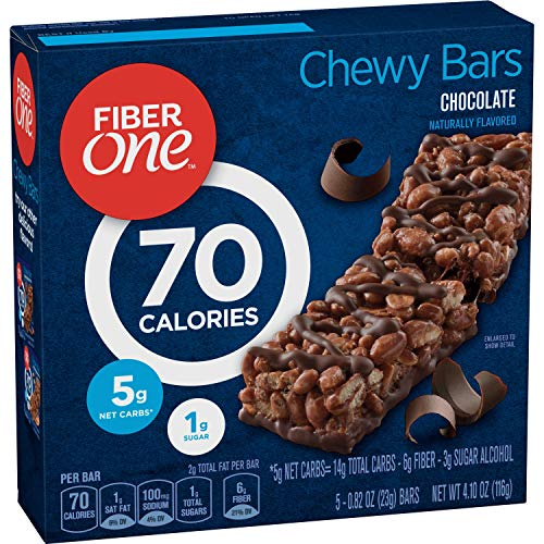 Fiber One 70 Calorie Chocolate Bars, Snack, 5ct.(Pack of 6) (One Fiber Oats)