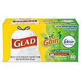 Glad Tall Kitchen Drawstring Trash Bags - OdorShield 13 Gallon White Trash Bag, Gain Original with Febreze Freshness - 40 Count