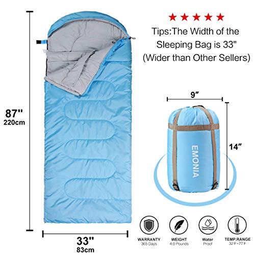 EMONIA Camping Sleeping Bag, 3-4 Season Waterproof Outdoor Hiking Backpacking Sleeping Bag Perfect for Traveling,Lightweight Portable Envelope Sleeping Bags for Adults,Kids,Girls and Boys
