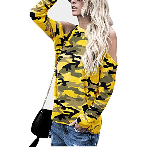 Blouse For Women-Clearance Sale, Farjing Off Shoulder Camouflage Long Sleeve Blouse Tops T-Shirt(US:10/XL,Yellow) by Farjing
