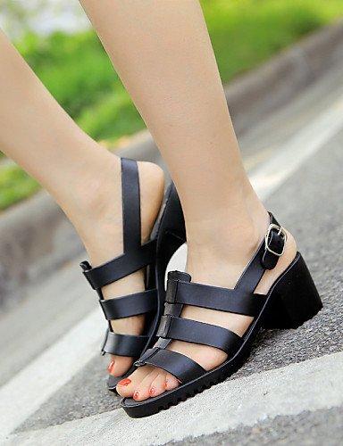ShangYi Women's Shoes PVC Chunky Heel Open Toe Sandals Casual Black/Blue , black-us6 / eu36 / uk4 / cn36 , black-us6 / eu36 / uk4 / cn36