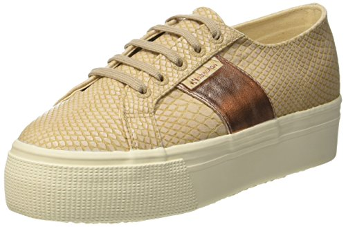 Superga Womens 2790 PU Snake Synthetic Trainers Nude
