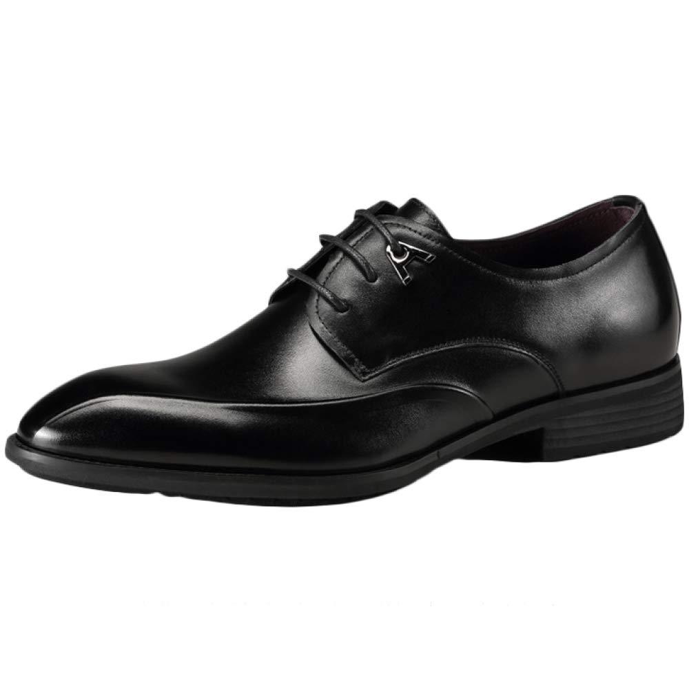 Herren Herbst Winter Vintage Arbeit Spitz Business Formelle Uniform Schwarzer Anzug Derby Braun Echtes Leder Schnürschuh Büro Abend Party Im Freien Schuhe Für Männer schwarz