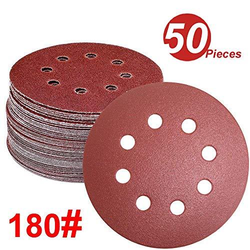WINGONEER 50PCS Sanding Discs Pads, 5-Inch 8-Hole 180-Grit Hook and Loop Aluminium Oxide Sandpaper for Random Orbital Sander