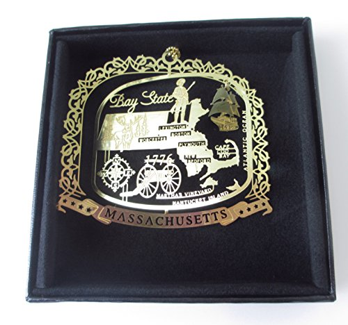 Brass Christmas Ornament Black Leatherette Gift Box (Gift Box Christmas Ornament)