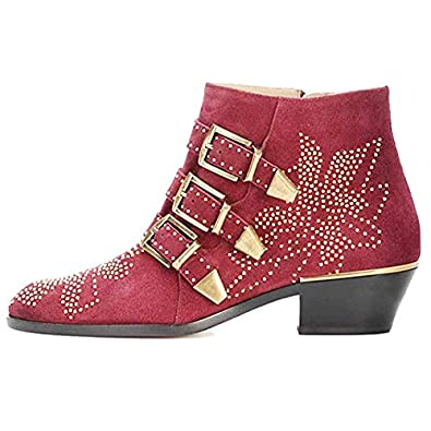 eab74f37c5906 GEEDIAR Leather Ankle Boots,Women Low Heel Studded Chunky Buckle Mental  Rivet Suede Red Bootie