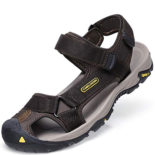 (CAMEL CROWN Mens Waterproof Hiking Sandals Closed Toe Water Shoes Adjustable Strap Non-Slip Casual Athletic Sandals for Men Outdoor Sport Beach Summer Brown Size 12 US )