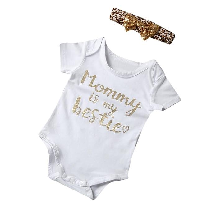 Para bebé, webla niños bebé niño Niña carta Mono Pelele diadema trajes ropa Set blanco Talla:Size:6M: Amazon.es: Bebé