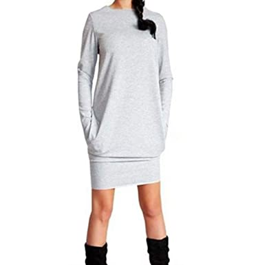 d401e16d67a9c1 Sunday Damen Longshirt Kleid Pulli Pullover Kleid Herbst Winterkleider Mode  Hemd Langarm Sweatkleid Lang T Shirt