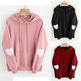 Search : woshishei 2017 3 Colors Womens Long Sleeve Heart Hoodie Sweatshirt Jumper Hooded Pullover Tops Blouse