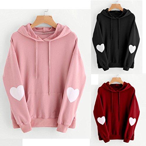 woshishei 2017 3 Colors Womens Long Sleeve Heart Hoodie Sweatshirt Jumper Hooded Pullover Tops Blouse