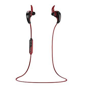 Dailyinshop Auriculares inalámbricos Bluetooth Deportes Auriculares Estéreo Podómetro para Nueva Abeja (Color: Rojo)
