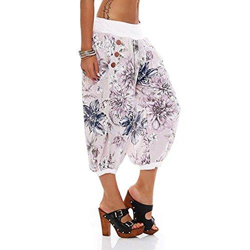 Pieds Super Bande De Bleu Imprim Avec RTro Largeur Mme SOMESUN Vent Floral Large Jambe Pantalon Plage Blanc Print Noir Pants Feuilles Ins Passante Femme Goutte Threaded Blanc Digital Hqvzwa