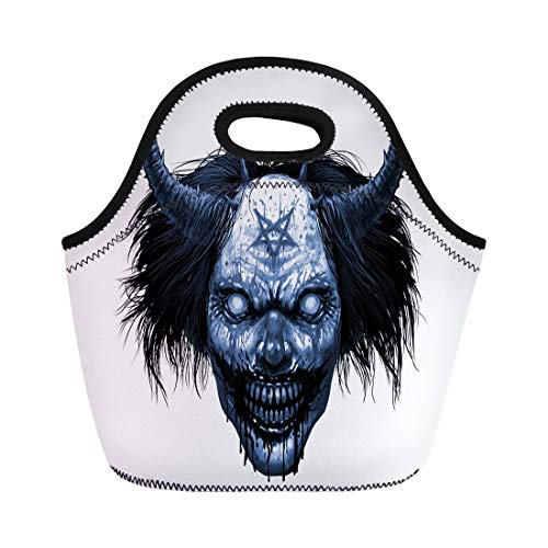 (Semtomn Lunch Tote Bag Hell Evil Smiling Clown Makeup Long Hair and Satanic Reusable Neoprene Insulated Thermal Outdoor Picnic Lunchbox for Men)