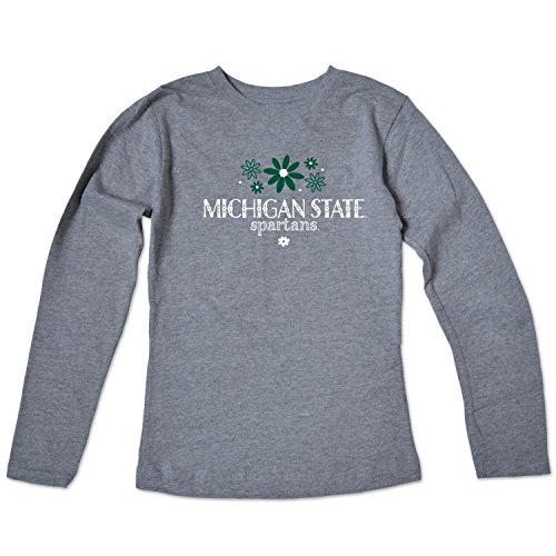College Kids NCAA Michigan State Spartans Girls Long Sleeve Tee, Size 14-16/Large, Varsity Oxford -