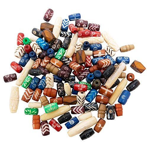 120 PCs Bone Beads for Jewelry Making Kit with Free Leather Necklace - Colorful Natural Ox Bone Beads - Great for Native American, Indian and African Jewelry - Jewelry Making Supplies for Adults ()