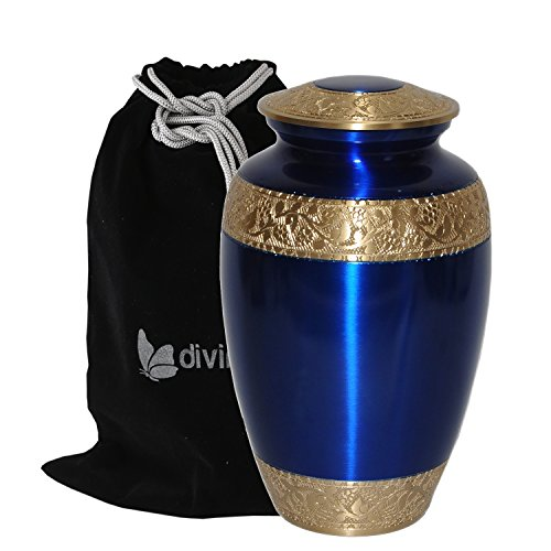 (Sapphire Blue Cremation Urn for Human Ashes - Adult Funeral Urn Handcrafted - Solid Brass Urn - Affordable Urn for Ashes - Large Urn Deal)