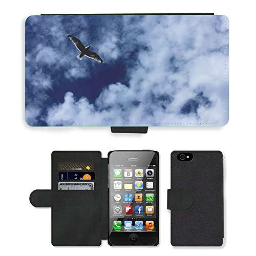Just Phone Cases PU Leather Flip Custodia Protettiva Case Cover per // M00128289 Seagull Sky oiseaux Flying Blue Clouds // Apple iPhone 4 4S 4G