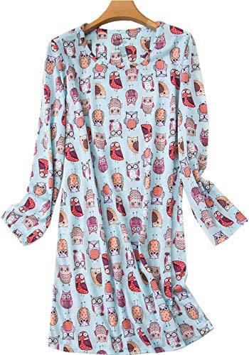 Women's Cotton Nightgown Long Sleeves Sleepwear Cute Print Dress Lucky04-Blue Owl-S