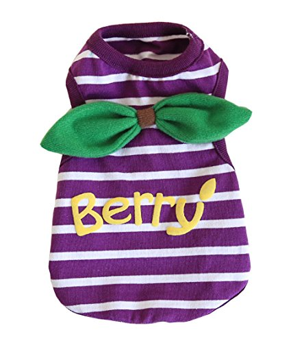 BBEART Pet Clothes, Small Dog Clothes Cat Clothes Lovely Fruit Pet Shirts Soft Cotton Bow Tie Vest T Shirt Dog Clothes for Small Dogs Puppy Clothes Spring and Summer (M-Length 27cm, Purple) ()