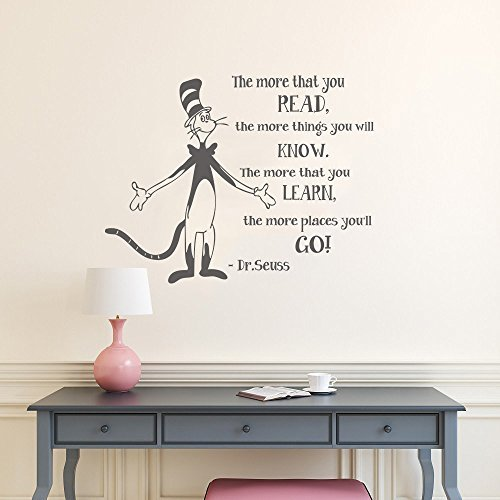 (Wall Decal Decor The More That You Read - Dr Suess Vinyl Decal Quotes Wall lettering Classroom Wall Art Sticker Children Kids Wall Decals(dark gray, 21.5