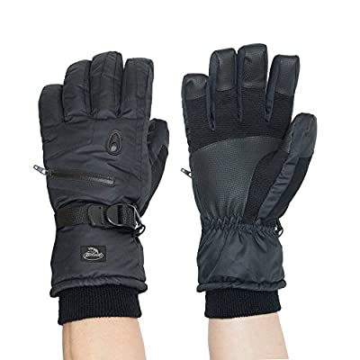 HighLoong Men Ski Snowboard Gloves Waterproof Thinsulate Cold Winter-Black