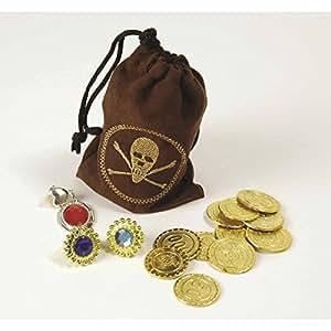 Bolsa de botín pirata con monedas y gemas de juguete