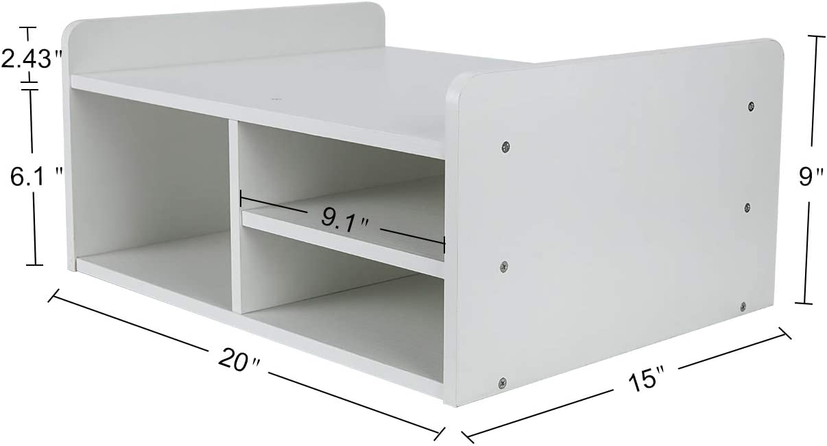 PAG Monitor Printer Stand Computer Riser with Storage Wood Desk Organizer for Home/Office, 2-Tier, White 51m05cZEqoL