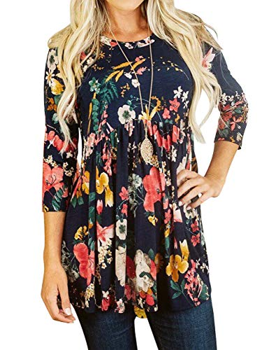 (DAMISSLY Women's Floral 3/4 Sleeve Round Neck Babydoll Print Basic Casual Tank Tops Tunic(Navy, Large))