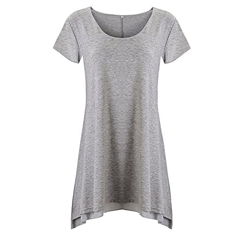 (Solid Color T-Shirt for Women,Cinsanong Sales! Ladies Summer Short Sleeve Blouse V-Neck Lace Casual Fashion Tops Gray)