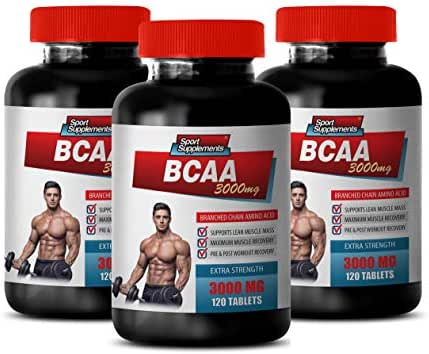 Muscle Growth Dietary Supplement Capsules - BCAA 3000MG - BRANCHED Chain Amino ACIDS - Amino acids bcaa Bodybuilding - 3 Bottles 360 Tablets