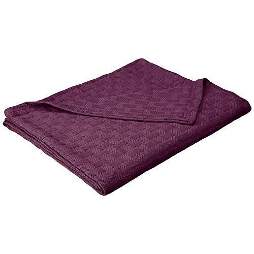 Basket Weave Blanket - 100% Soft Premium Cotton Blanket - Perfect for Layering Any Bed, King, Plum
