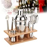 Raza Set of 550ML Stainless Steel Bar Cocktail Drink Shaker Mixer Wine Making Tool Strainer Straw Ice Filter Clip Bottle Opener