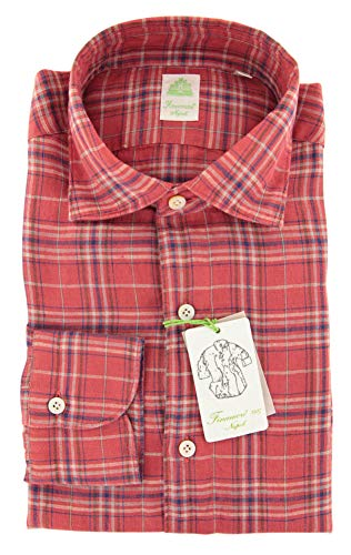 Finamore Napoli Red Plaid Medium Spread Collar Linen Extra Slim Shirt - Size 15.75/40 (Shirt Napoli Red)