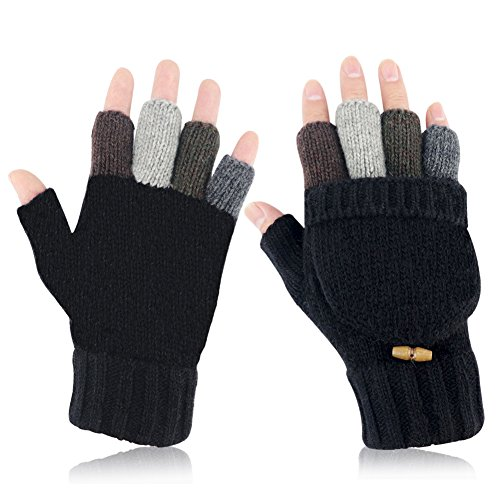Knit Mittens Winter Gloves Wool Warm Gloves Fingerless Gloves with Mittens Cover Cap (Black)