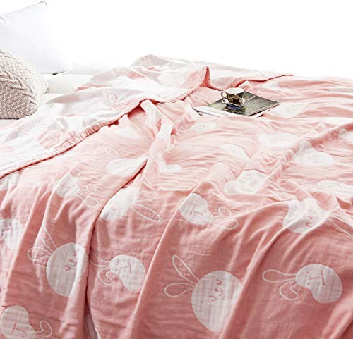 MEJU Rabbit Muslin Lightweight Summer Blanket for Bed Sofa Couch, 100% Combed Cotton 3 Layer Soft Warm Quick Dry Throw Blanket Bed Coverlet Sheet (Rabbit, Twin 59