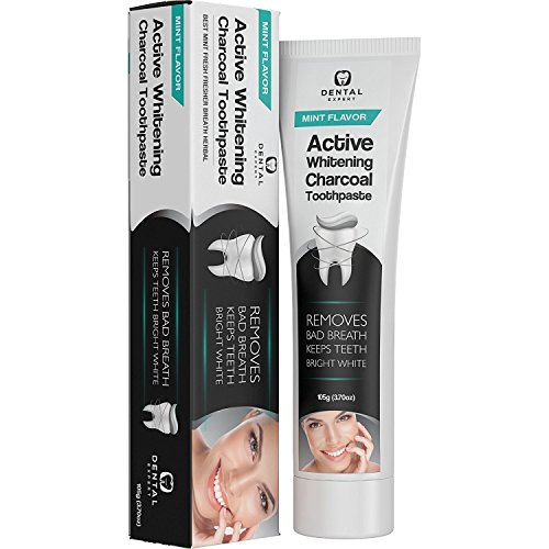 Activated Charcoal Teeth Whitening Toothpaste - DESTROYS BAD BREATH - Best Natural Black Tooth Paste Kit - MINT FLAVOR - Herbal Decay Treatment - REMOVES COFFEE STAINS - 105g (3.7 Oz)