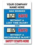 Safety Star Digital Safety Scoreboard 20'' x 28''; 2 separate timers - Free wording customization