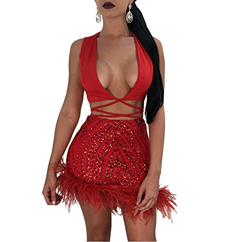 Summer 2 Piece Outfits for Women Bodycon Sleeveless Crop Top with Sequin Short Mini Skirt Set Red XL