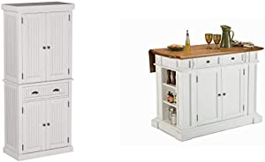 Home Styles Nantucket Pantry - White Distressed Finish & White & Distressed Oak Kitchen Island by Home Styles