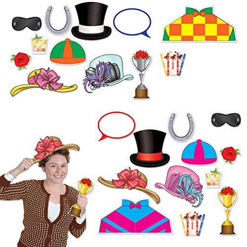 Horse Racing Photo (Beistle 54687 Horse Racing Photo Fun Signs 24 Piece Derby Day Decorations, 4