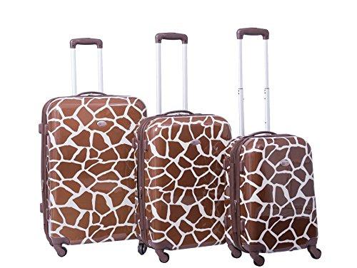 american-flyer-giraffe-brown-3-piece-hardside-spinner-luggage-set-brown