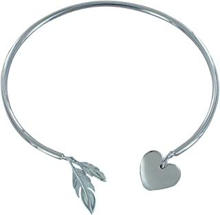 Les Poulettes Jewels - Rhodium Silver Half Ring Bracelet Two Feather and A Heart